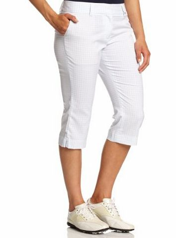 Calvin Klein Golf Womens Cropped Check Trouser Bottoms - White/Impulse Blue, Size 16
