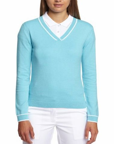 Calvin Klein Golf Womens Cross V Neck Sweater Sweaters - Impulse Blue/White, X-Small