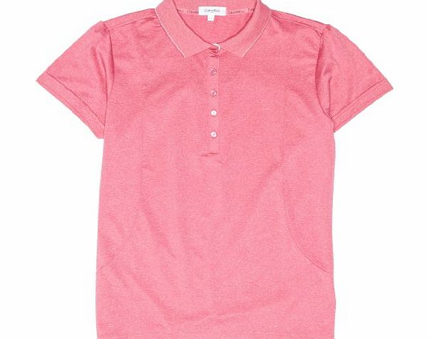 Calvin Klein Golf Womens Knit Collar Sleeve Polo Shirts - Pink/White, Large