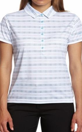 Calvin Klein Golf Womens Mini Geometric Print Polo Shirts - White/Impulse Blue, X-Large