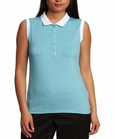 Calvin Klein Golf Womens Sleeveless Polo Shirts With Contrast Trim - Impulse Blue/White, Small