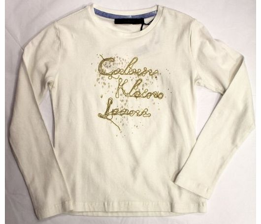 Calvin Klein Jeans Calvin Klein Girls Cream T-Shirt W/Gold Logo (16 Years)