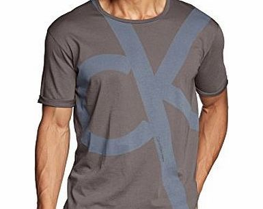 Calvin Klein Jeans Mens Crew Neck Short Sleeve T-Shirt - Grey - Grau (MAGNET-PT 739) - Large