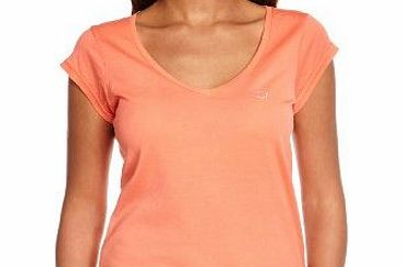 Calvin Klein Jeans Womens Plain or unicolor V-Neck Short sleeve T-Shirt - Orange - Orange - 12