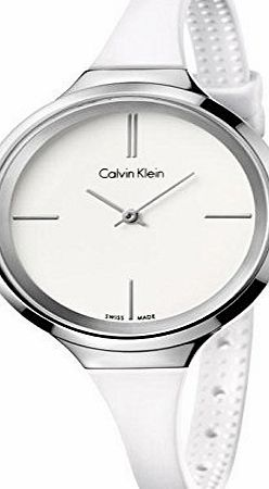 Calvin Klein K4U231K2 34mm Stainless Steel Case White Rubber Mineral Womens Watch