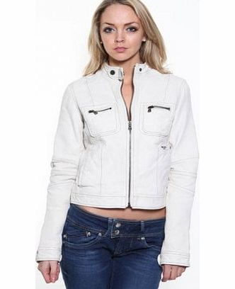 Calvin Klein Ladies Calvin Klein Cream Leather Biker Jacket, Large