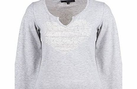 Calvin Klein Ladies Fashion Casual Front Print Cotton T-shirts Tops Blouse (S, Grey)