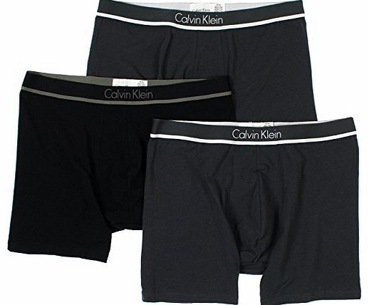 Calvin Klein Mens Modern Stretch 3 Boxer Brief, Gray/Black/Gray, Medium