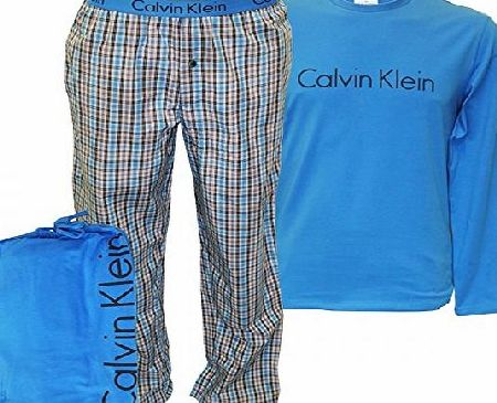 Calvin Klein Mens Nightwear Set by Calvin Klein - Pyjamas Bottoms/ Pants with T-Shirt (Mid Blue) L