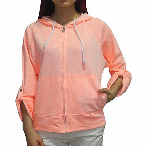 Calvin Klein Perfomance Womens Casual Super Soft Zip-Up Hoodie Jacket L LightCoral