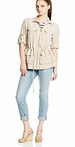 Calvin Klein Womens Latte Soft Camp Zip Front Toggle Jacket XS