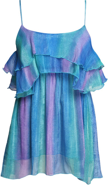 Tie dye chiffon layer summer tunic dress with spaghetti straps. Layer ruffle detail to front. 62cm.  - CLICK FOR MORE INFORMATION