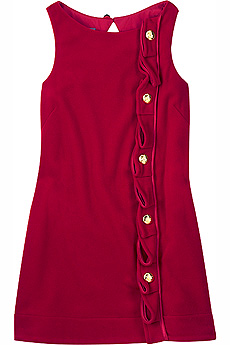 Lipstick red wool mini shift dress with gold button detail. - CLICK FOR MORE INFORMATION