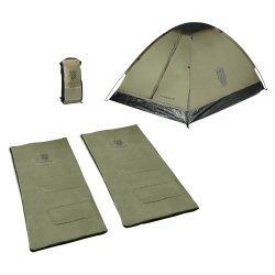 The Tattoo Combo package consists of a summer weight tent and two summer sleeping bags which all fit - CLICK FOR MORE INFORMATION