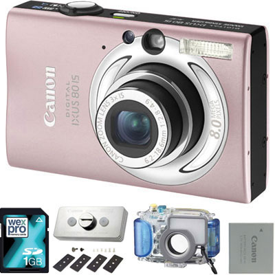 canon ixus 80 is pink underwater camera kit review