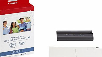 Canon KP-36IP Ink/Paper for Selphy Series Printers - 36x 4`` x 6`` Postcard Size