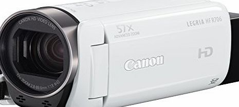 Canon LEGRIA HF R706 High Definition Camcorder - White (32x Optical Zoom, 1140x Digital Zoom) 3-Inch OLED Touchscreen