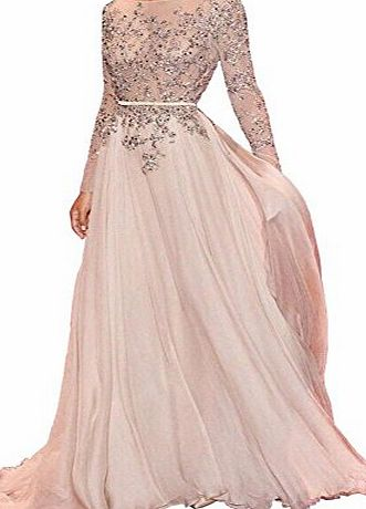 Carnivalprom Womens A Line Prom Gowns Crew Long Sleeve Chiffon Evening Dress Pearl Pink UK8