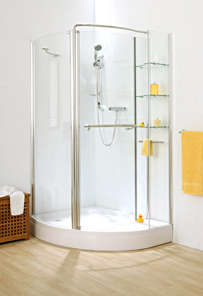 Cascata Storage Corner Curve Shower with Shelving unit (Left) with Tray SR