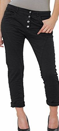 CASPAR Fashion CASPAR KHS014 Women Boyfriend Trousers, Colour:schwarz (vintage);Size:36 S UK8 US6