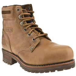 Male Caterpillar Sequoia Leather Upper Casual Boots in Tan