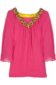 Pink layered chiffon blouse with multicolored beaded neckline