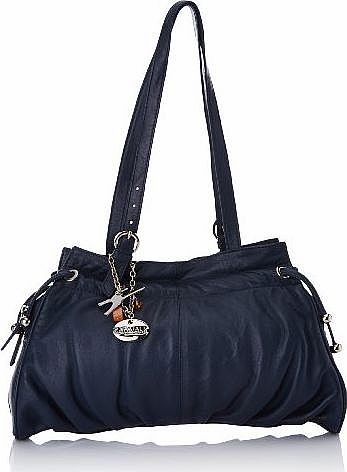 Catwalk Collection Handbags Catwalk Collection Leather Shoulder Bag - Alice - Navy Blue