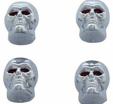 4 x Skull Car or Bike Dust/ Valve Caps- Silver Red Eyes