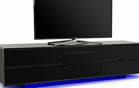 Centurion Supports Supports AVITUS ULTRA Remote Friendly BeamThru Gloss Black with 4-Black Drawers 32``-70`` Flat Screen TV Cabinet with LED Lights (avi