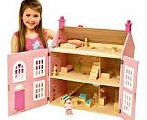 Chad Valley Wooden 3 Storey Dolls House - Pink