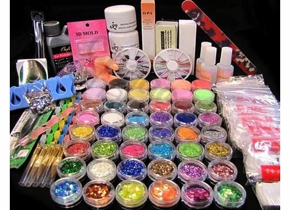 NAIL ART KIT 48 COLOURS GLITTER GLUE UV POWDER ACRYLIC LIQUID NAIL SET