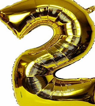 Changzhong 40`` Number 2 Helium Foil Digital balloons ,birthday holidays weddin party supply Golden