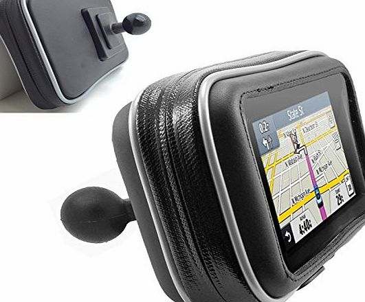 ChargerCity XXL WaterProof 4.3`` 5`` GPS SatNav Case for TomTom Via XL Start Go 25 50 51 500 510 5100 Garmin Nuvi 42 55 56 57 57LM 58 2597 2599 w/ 1`` ball mail connection for Arkon Robust amp; Ram Moun