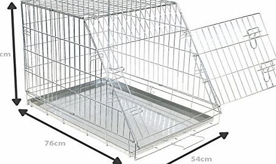 Charles Bentley Pets Dog Cage Metal Slanted Front For Car Medium H62Xw76Xd54 Cm Tray Weatherproof Non-Chew Folding Portable Cat Animal Training