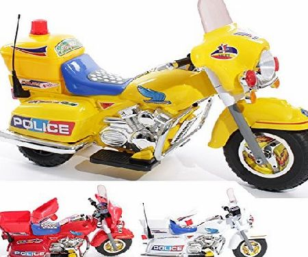 Charles Jacobs Ride on Kids Police Motorcycle Electric Motorbike 6V Battery Operated Toy Bike (Yellow)