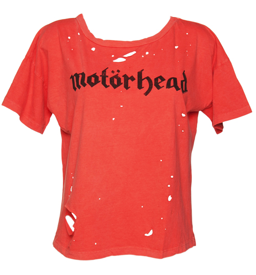 Ladies Red Destroyed Motorhead Boxy T-Shirt from