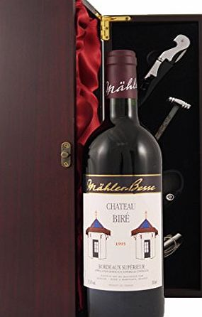 Chateau Bire Bordeaux Superieur 1995 Vintage Wine presented in a silk lined wooden presentation box with four wine accessories