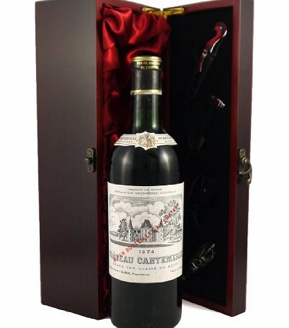 Chateau Cantemerle 1974 Chateau Cantemerle Grand Cru Classe Macau-Ludon Vintage Wine presented in a silk lined wooden box with four wine accessories, Christmas, Xmas Gifts, Thank You, Wedding Anniversary, Engagement, Bi product image