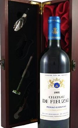 1995 Chateau Fieuzal Graves Grand Cru Classe Vintage Wine presented in a silk lined wooden box with four wine accessories, white wine Christmas Present, Corporate gift