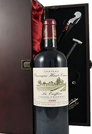 Chateau Haut Canon La Truffiere 1998 Bordeaux Vintage Wine presented in a silk lined wooden box with four wine accessories