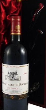 Chateau Lamonthe Bergeron 1989 Chateau Lamonthe Bergeron Vintage Wine presented in a silk lined wooden box with four wine accessories Christmas Present, Corporate Gift, Wedding, Anniversary Birthday Gifts product image