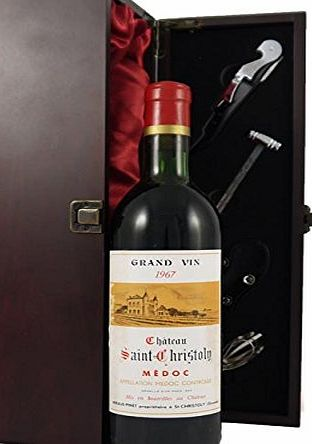 Chateau Saint Christoly 1967 Medoc Vintage Wine presented in a silk lined wooden box with four wine accessories