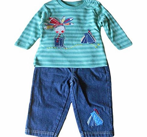 Cheeky Chimp 18-23 months - Baby Boys Outfit - Adorable Green Striped Little Indian Boy with Wigwam Long-sleeved Top amp; Blue Denim Trousers Set / Babies Clothes
