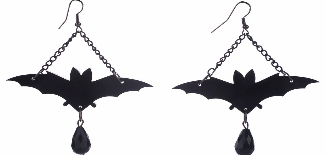 Cherry Loco Black Acrylic Bat Chandelier Earrings from product image