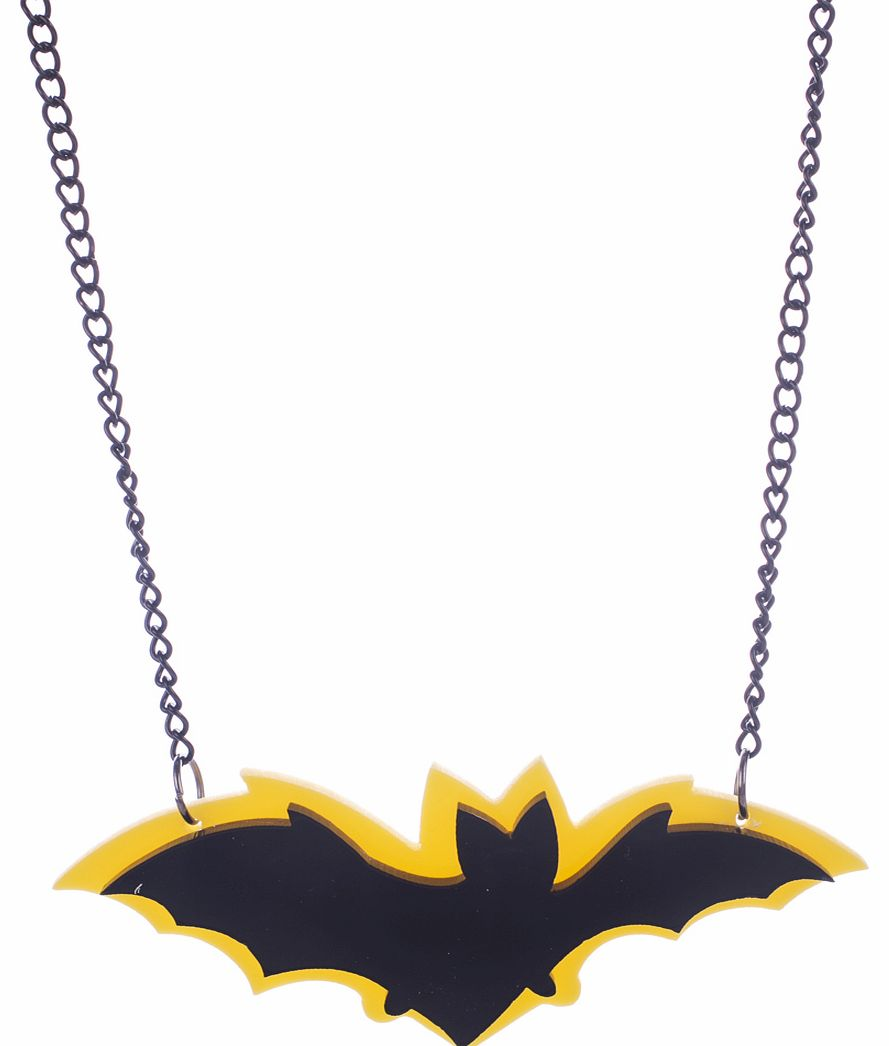 Cherry Loco Layered Acrylic Black And Yellow Bat Necklace product image