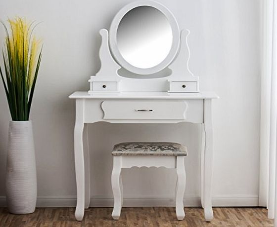 Cherry Tree Furniture CherryTree Furniture Dressing Table 3-Drawer Makeup Dresser Set with Stool Oval Mirror