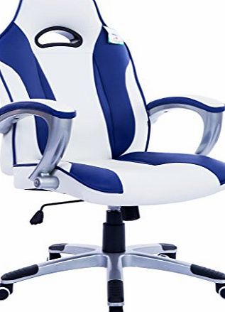 Cherry Tree Furniture High Back Racing Sport Gaming Style Computer Office Desk PU Leather Swivel Chair in Contrasting Colours (Blue amp; White)
