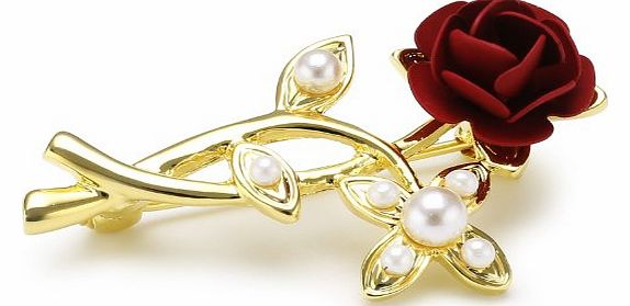 Chic Gold Plated Red Rose With Pearls Flower Brooch
