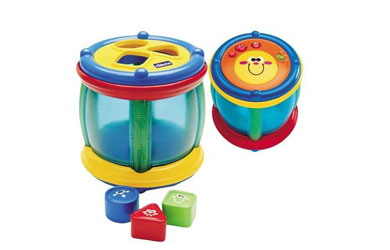 Features an electronic tambourine with drum stick on one side and a shape sorter on the other side! - CLICK FOR MORE INFORMATION
