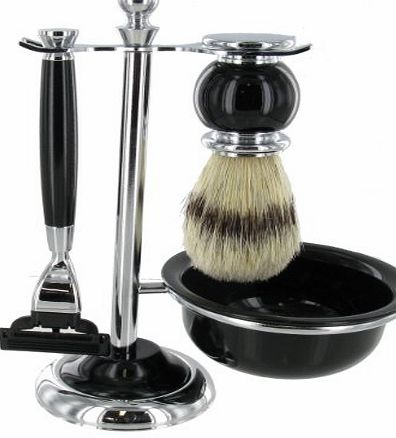 Chichi Gifts Artemis Black MACH 3 Shaving Gift Set - Razor, Bowl amp; Brush on Stand SHV119
